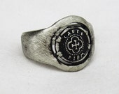 Silver Antique Ring Mens Dark Oxidized Rings Carpe Diem Seize the Day Jewelry