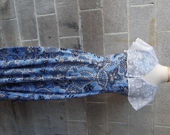 1970s Maxi dress, Blue and White Bandanna Print, Cotton,  Hippie, Boho, Prairie,Size Medium #29641