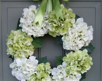 Spring/Summer Wreath - Spring/Summer Hydrangea Wreath - Spring/Summer Door Wreath