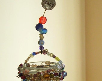 Peace Rainbow - Wire Wrapped Beaded Hanging Jar / Plant Rooter