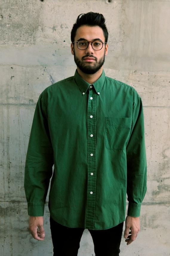 Green Oxford Shirt / Men Button Up / Bold Green Shirt