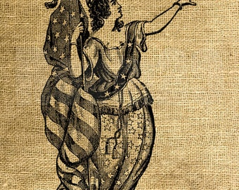 INSTANT DOWNLOAD Lady Liberty Vintage Illustration - Download and Print - Digital Sheet by Room29 - Sheet no. 776