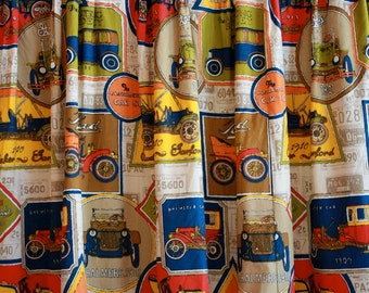 Rare 1950s Vintage Car Print Barkcloth Curtain Panel // Novelty Print // Man Cave