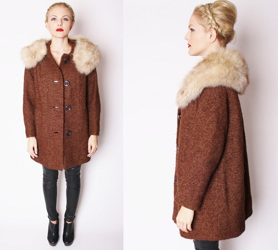 Vintage 1950s Chocolate Brown Wool Winter Coat with Oversized
