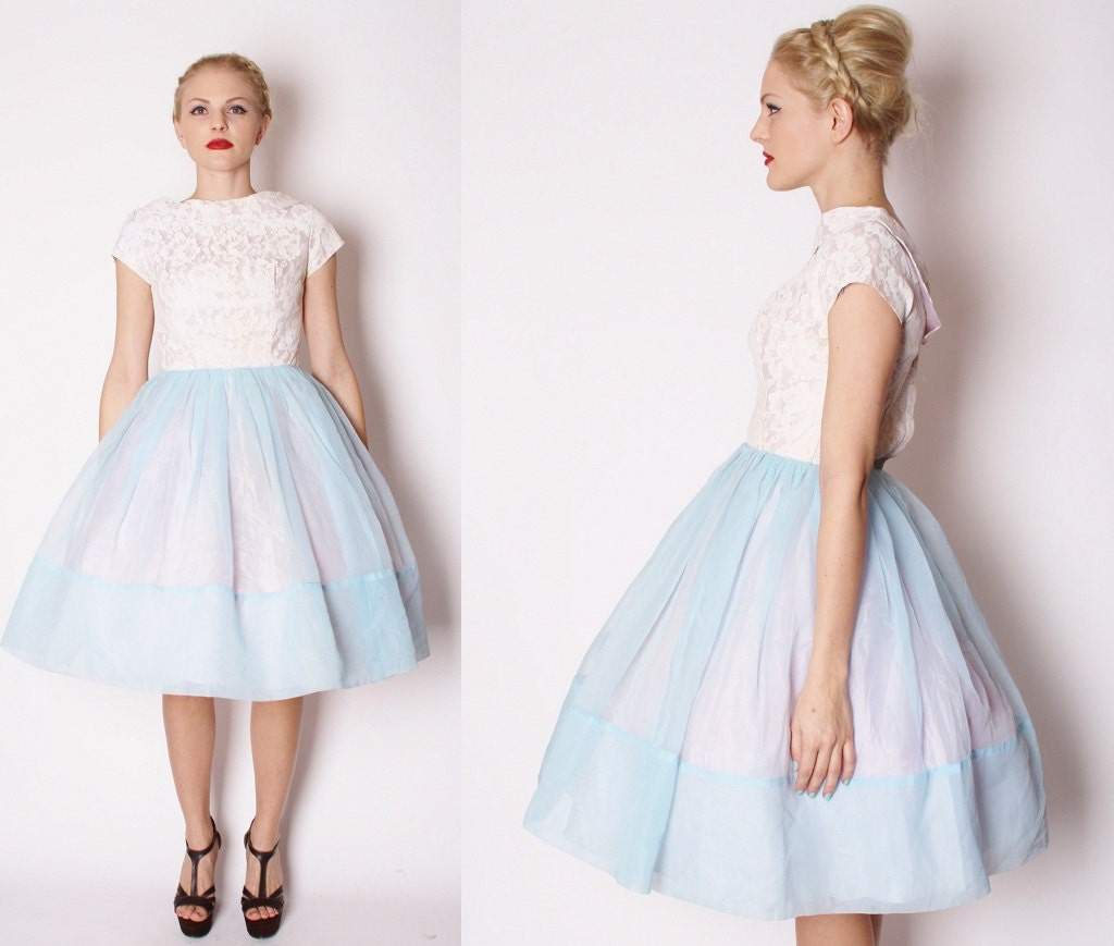 1950s Wedding Dress / Short Wedding Dress / Periwinkle / Lace
