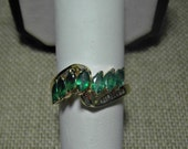 14k Emerald Ring Marquise Baguette Diamond Ribbon 4.1g