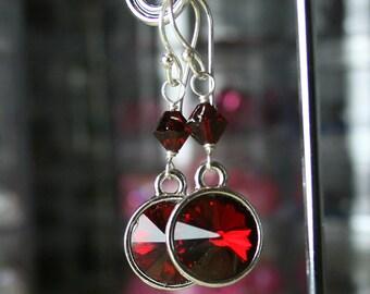 ON SALE - Scarlet Red Drops - Long Swarovski Crystal Rivoli Earrings in Siam Red - Handmade With Sterling Silver