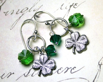 Charming Lucky Clover Earrings in Emerald Green - Four Leaf Clover Earrings - Sterling Silver and Swarovski Crystal