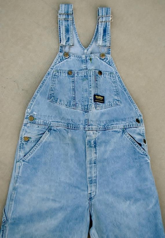 Vintage Osh Kosh Adult Overalls Sz 34 Bib Overalls VestBak Light Blue Denim