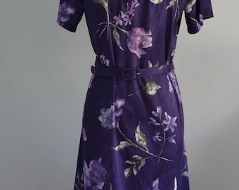 Retro Secretary ANTHONY RICHARDS Romantic Spring Purple Flower Dress w Matching Belt