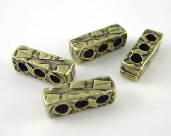 20 Brass Oxide TierraCast Rock & Roll 3 Hole Spacer Bars