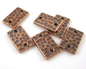 6 Antique Copper Tierracast Rectangle Hammertone Links