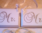 Wedding Signs, Bling, Mr. & Mrs., Champagne Reception Decoration, Glitter, Wood Chair Sign, Silver, Gold