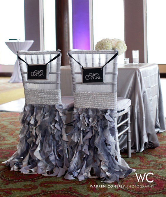 GLITTER Wedding Signs Mr & Mrs. Chair Signs SILVER Wedding BLACK Wedding Bling Wedding