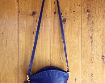 90s CARLOS FALCHI--Cobalt Leather--Mini Bucket Bag--Crossbody--Hammered Gold Hardware
