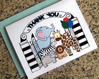zoo train animals boy thank you notes cards primary colors (blank or custom printed inside) with blue envelopes - set of 10