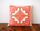 Native Quilt Pillow - Poppy / Tomato / Orange / Red - Screen Printed Organic Cotton - shapescolors