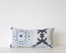 Ethan Allen Roseto Indigo suzani medallion blue 8x16 mini lumbar pillow cover