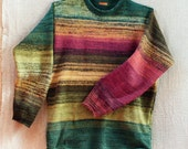Random Designer Menswear Sweater Striped like a Mexican Blanket, fits M men or L women, sweatshirt feel with cool cotton and kid mohair - WrapturebyInese