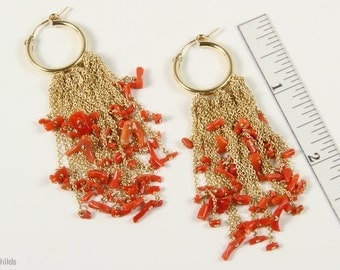 Blood Red Coral Branch Hoop Earrings 14ktgf Yellow Gold AC0800 by Ashley Childs