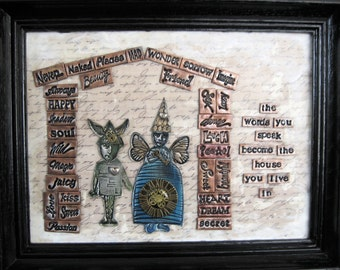 OOAK Mixed Media Mosaic Altar - The Words You Speak Become The House You Live In