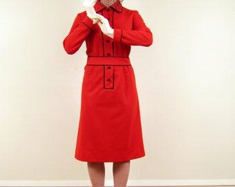 Vintage 1970s Dress / 70s Red Dress /  Shirtwaist Dress