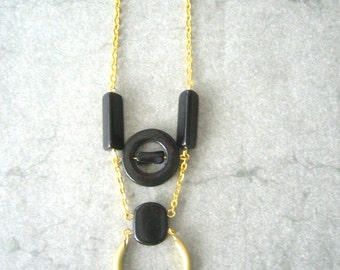 Black long necklace
