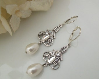 Bridal Earrings Ivory swarovski Pearls Crystal Earrings Bridal Rhinestone Earrings Pearl Rhinestone Earrings Teardrop Pearl earrings IRMA