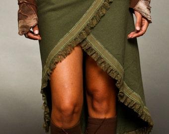 Cotton fleece Wrap Over Skirt - Bohemian Skirt - burning man - women's clothing
