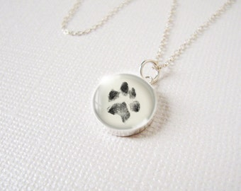 Custom Paw Print Necklace Pendant Charm in Sterling Silver w Your Pets Paw Print or Your Childs HandPrint