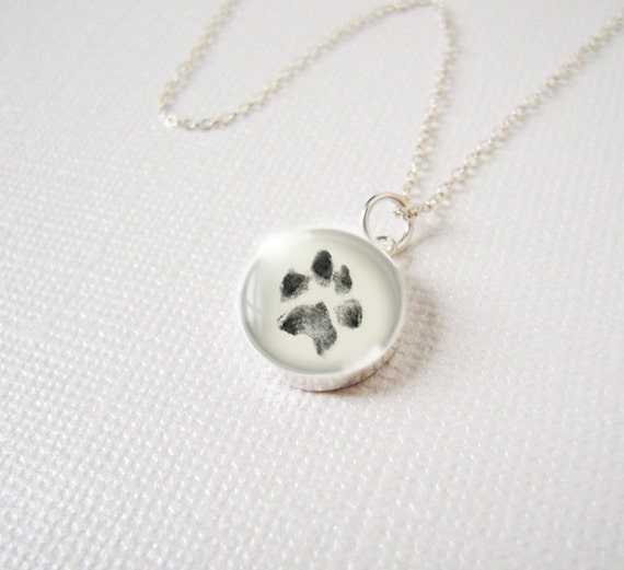 custom paw print necklace pendant charm in sterling silver w
