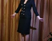 1940s Women's Suit / Vintage 40s 50s Navy Silk Shantung Suit by Cari Colette