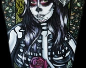Flower of the Dead - 12x16 Giclee Canvas Print Day of the Dead  Woman Art Coffin Skeleton Sugar skulls Tattoo art