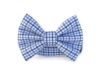 Blue Gingham Bow Tie Dog Collar
