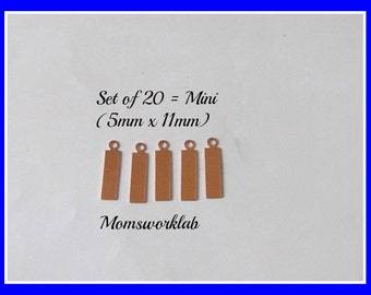 20 in pkg  - Copper Mini Tags - 5mm x 11mm -Tumbled blanks  - Premium Quality -earring supplies - hand stamping blanks -metal blanks