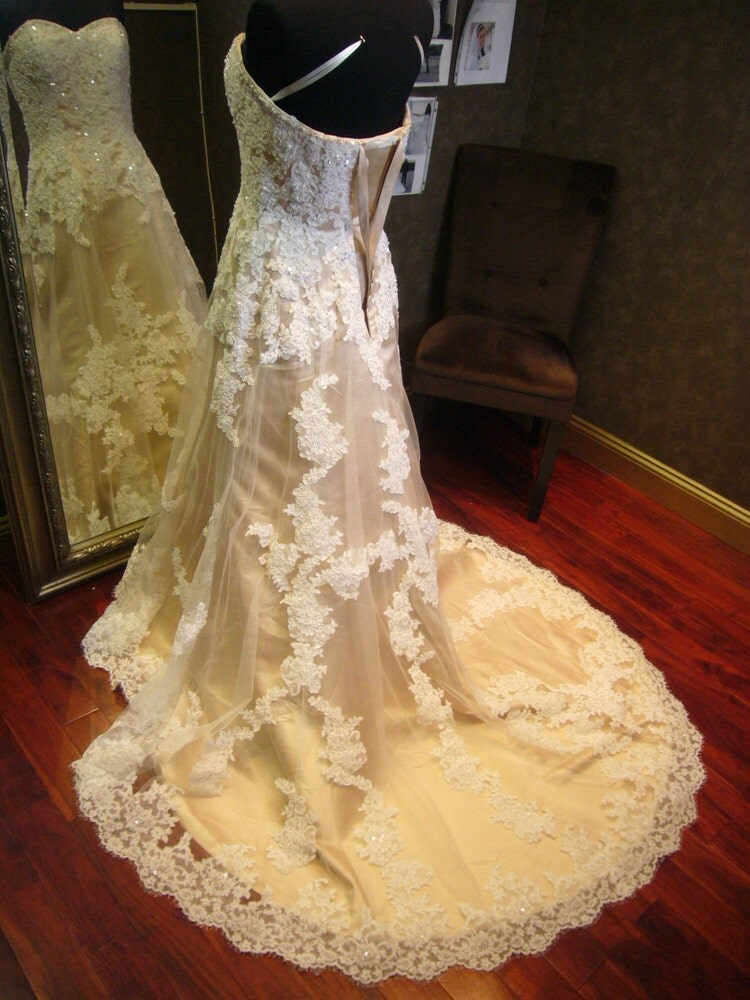 Stunning champagne wedding dress with ivory by for Ivory champagne wedding dress