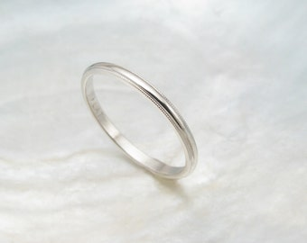 dainty wedding ring -- women's platinum wedding band with milgrain