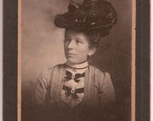 Old Portrait Photography Vintage Fashion Study Woman in Pretty Hat and White Blouse with Tucks and Bows and Jewelry - El Paso Memorabilia