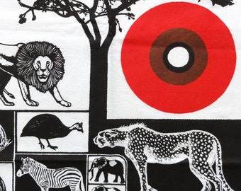 Vintage Tea Towel Africa Savanna Animals Coq D'Or