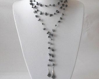 Long Necklace,Hematite Chips Stone, Hamsa,Hand, Crocheted Jewelry,Knitting Jewelry, Gift Idea, Holidays gift, Moms Gift, Crocheted  Necklace
