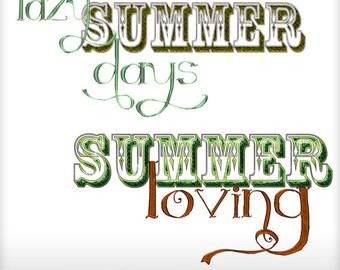 Designer Resource Summer Loving & Lazy Summer Days Word Art Printable Digital Wordarts Commercial Use Scrapbooking Clipart Instant Download