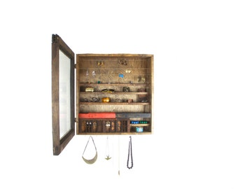 Wall Hanging Jewelry Organizer made from repurposed wood..... Handmade By TangleandFold