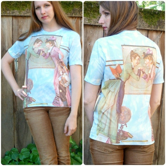 Vintage Norman Rockwell Shirt / Collectible First Day of School Print Tee M