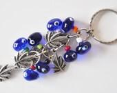 Plane Tree Leaf Key Chain Handmade Blue Evil Eye Silver Plated