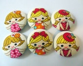 6 kawaii girls in fashion buttons 1 1/8 inches