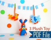 Easter Sewing Pattern Pack : 3 plush toy Pack - Cute Bunny - Modern Bird - Round Funny Bird - Spring Toy Collection PDF A503