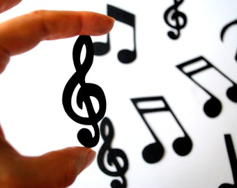 24 Music Note Die Cuts, Music Die Cuts with Treble Clef ,2.5 inches tall A593