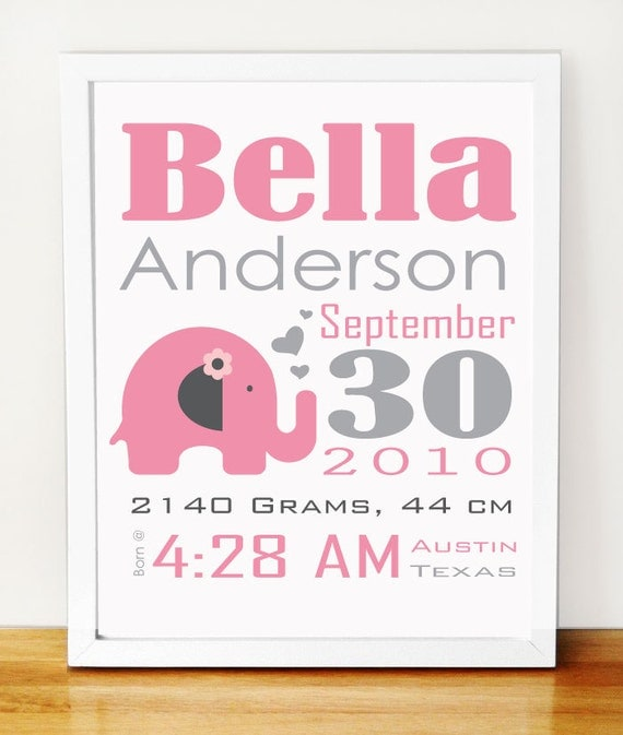 Baby Elephant Birth Announcement, pink and grey nursery wall print, Baby Announcement A277