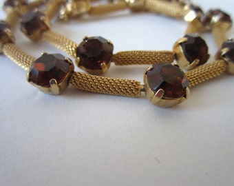 Vintage Amber Necklace/ Mesh Choker/ Circa 1960s