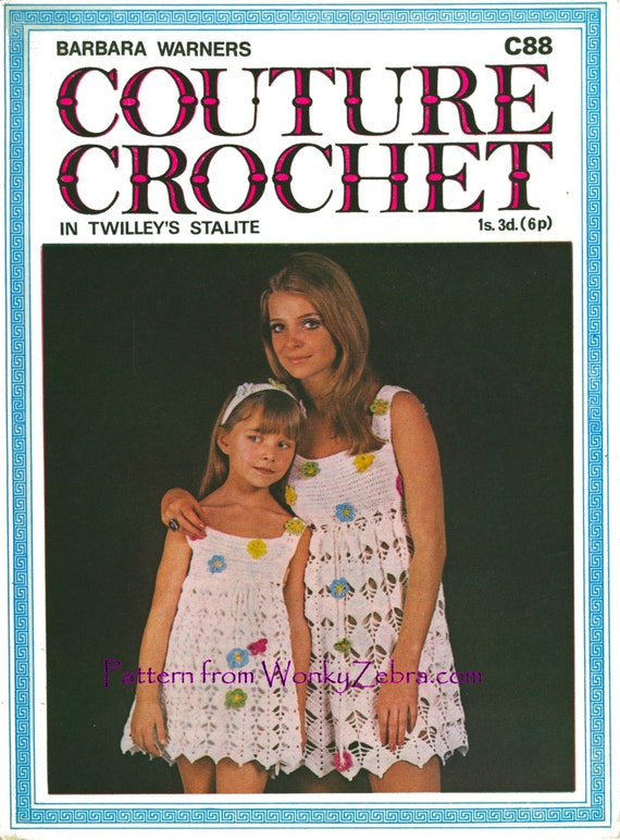 Vintage Crochet Pattern 002 PDF Cotton Dress for Mother and Daughter from WonkyZebra